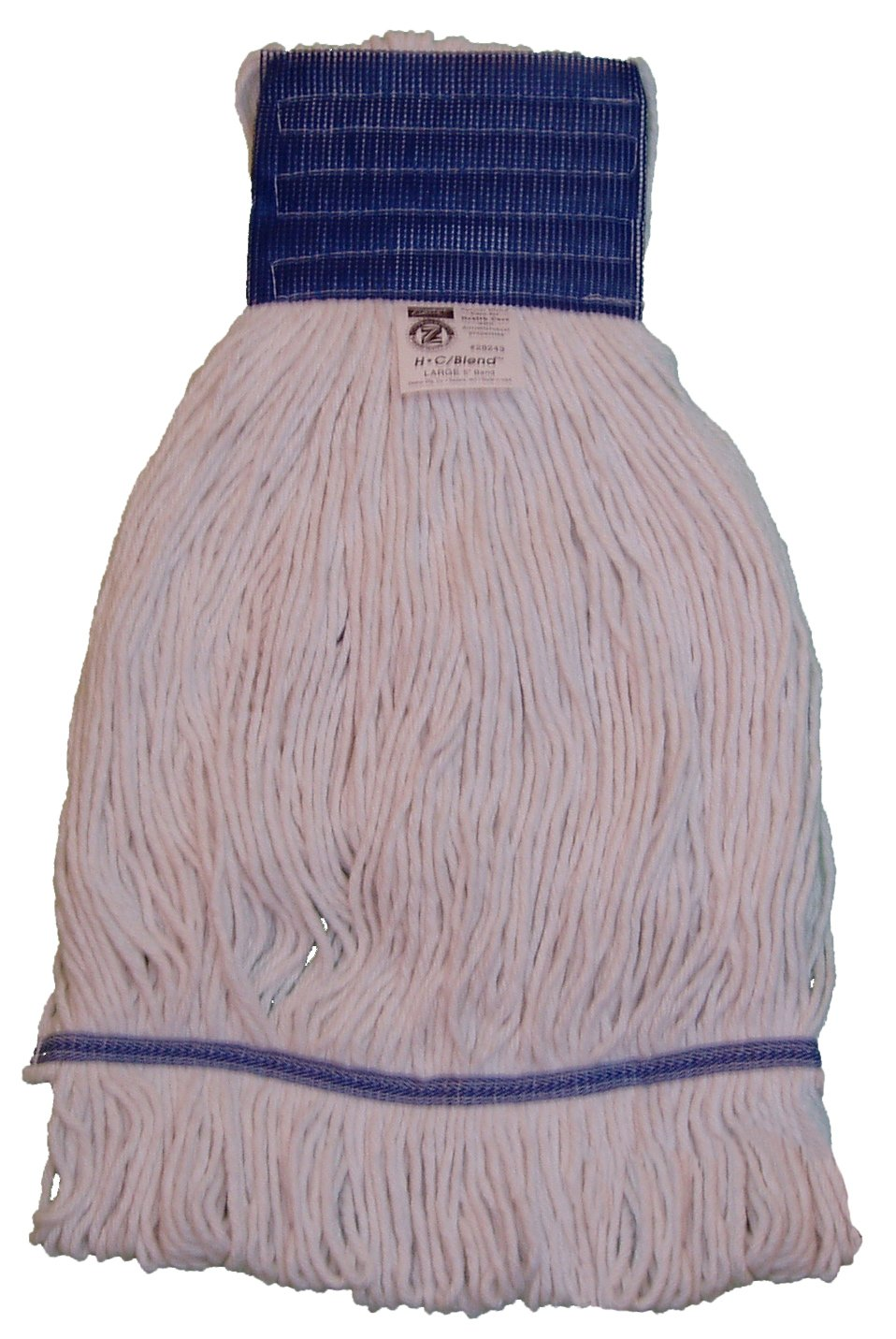 Zephyr 28244 HC/Blend Natural 4-Ply Yarn X-large Health Care Loop Mop Head with 5'' Mesh Wide Band (Pack of 12)