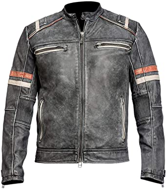 Retro 2 leather jacket biker style jacket Cafe racer retro 2 leather jacket for men