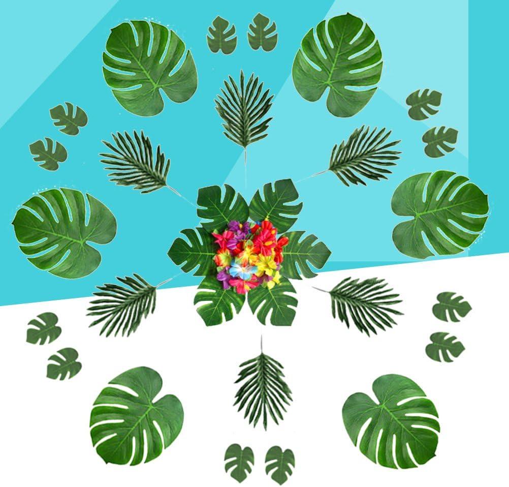 Amosfun 60PCS Hojas de Palmera y Flores de Hibisco para Hawaiian Luau Party Jungle Beach Decoraciones Boda Cumplea/ños Luau Hawaii Party Supplies
