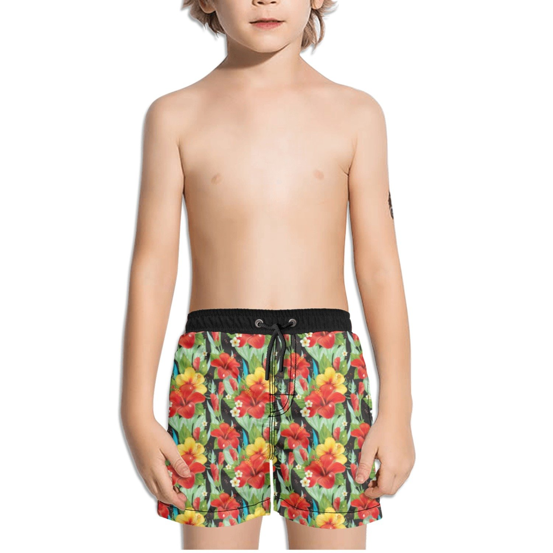 Trum Namii Boys Quick Dry Swim Trunks Tropical Red Flower Floral Shorts