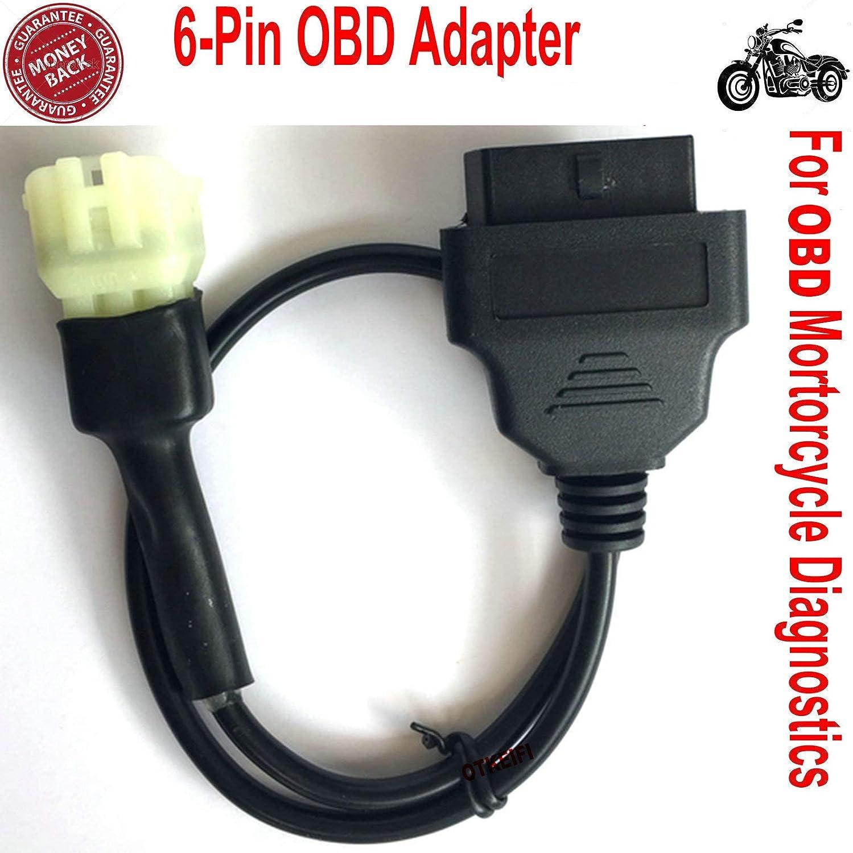 6-Pin OBD Adaptador 6 Pin OBD2 de 6 Pines para diagnóstico de Motos de Motocicleta, Cable OBD2 de 6 Pines para Motos Tuneecu 6 Pines a 16 Pines Conector OBDII
