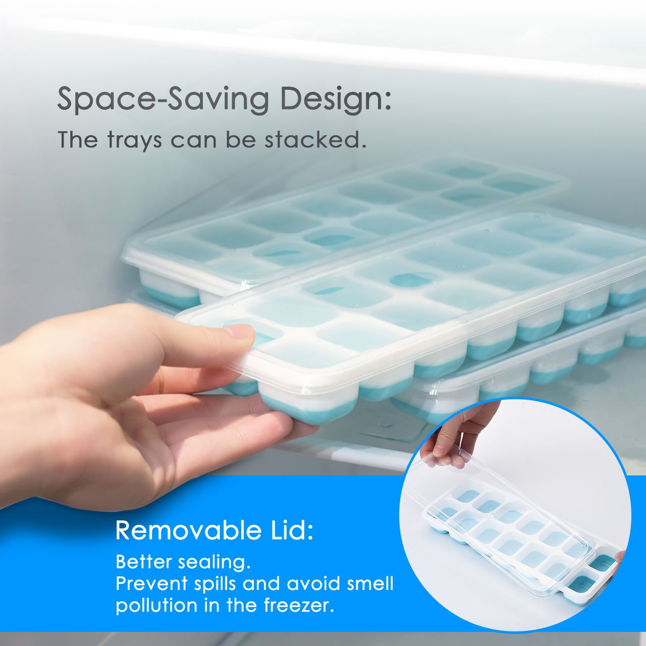 OMorc Ice Cube Trays 4 Pack, Easy-Release Silicone and Flexible 14-Ice Trays with Spill-Resistant Removable Lid, LFGB Certified & BPA Free, Stackable by OMORC (Image #5)