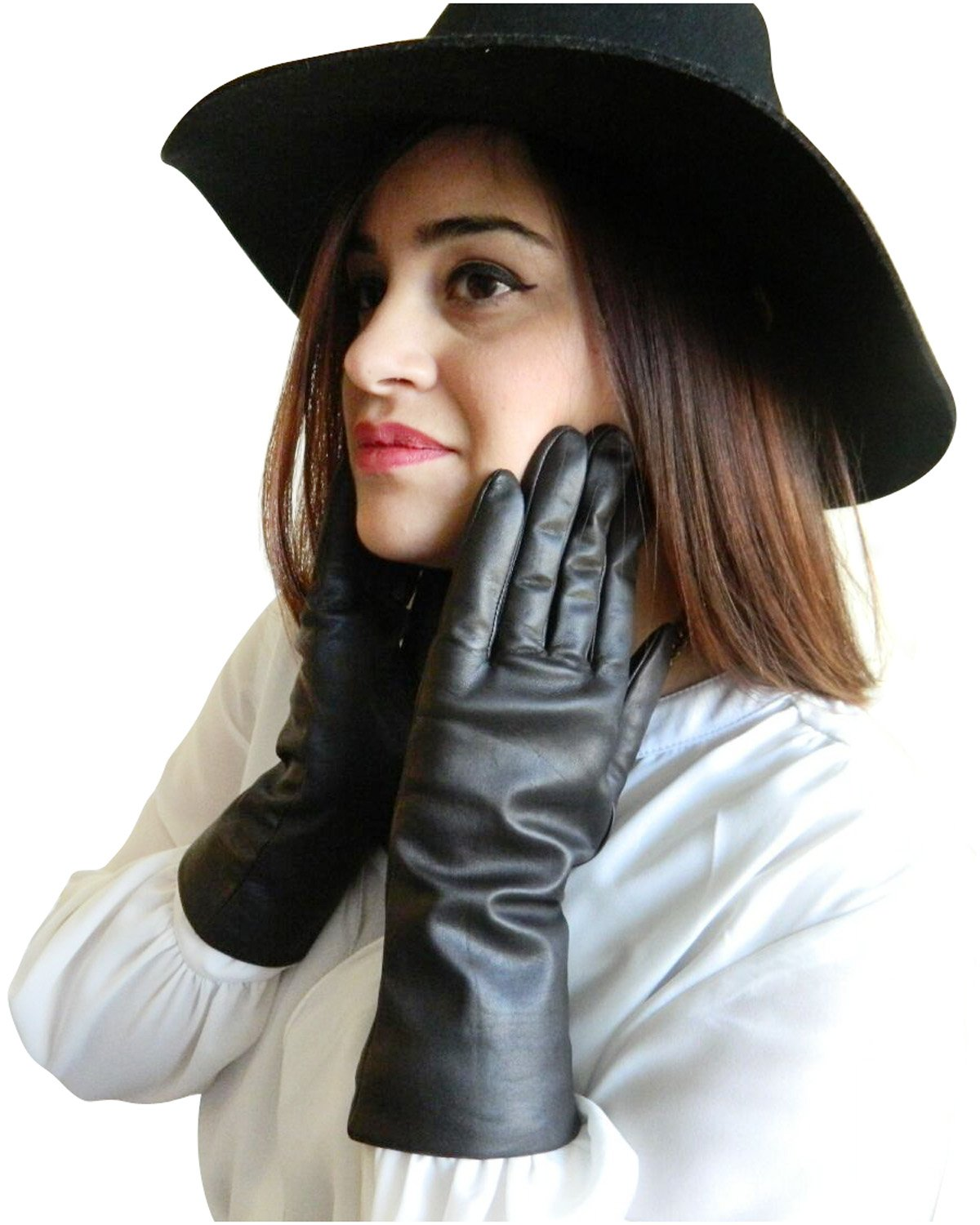 Fownes Women's Cashmere Lined Smart Black Lambskin Leather Gloves 7/M