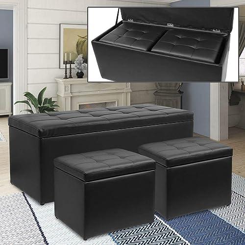 Magshion 3 Piece Black Storage Ottoman Bench Footrest
