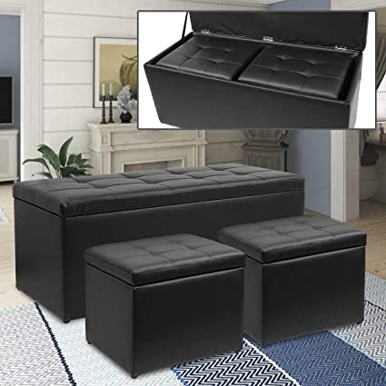 Peachy Magshion 3 Piece Black Storage Ottoman Bench Footrest With 2 Cube Ottoman Set Ncnpc Chair Design For Home Ncnpcorg
