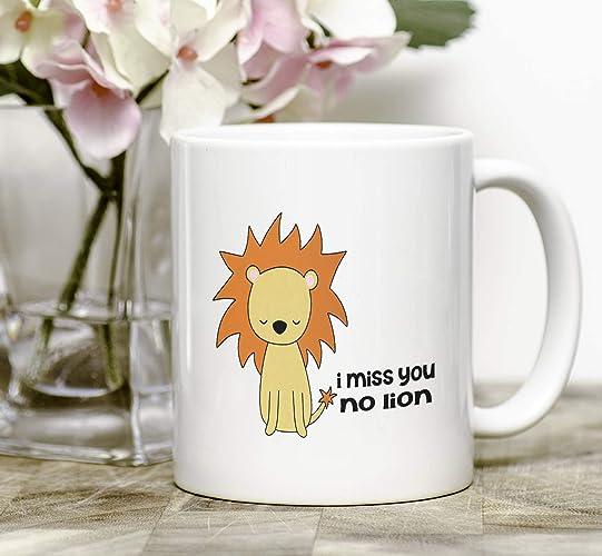 Amazon Com Funny Coffee Mug I Miss You Gift For Friend Lion Pun