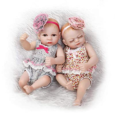 "TERABITHIA Mini 10"" Lifelike Headband Flower Reborn Baby Girls Dolls Silicone Full Body Newborn Twins Washable: Toys & Games"