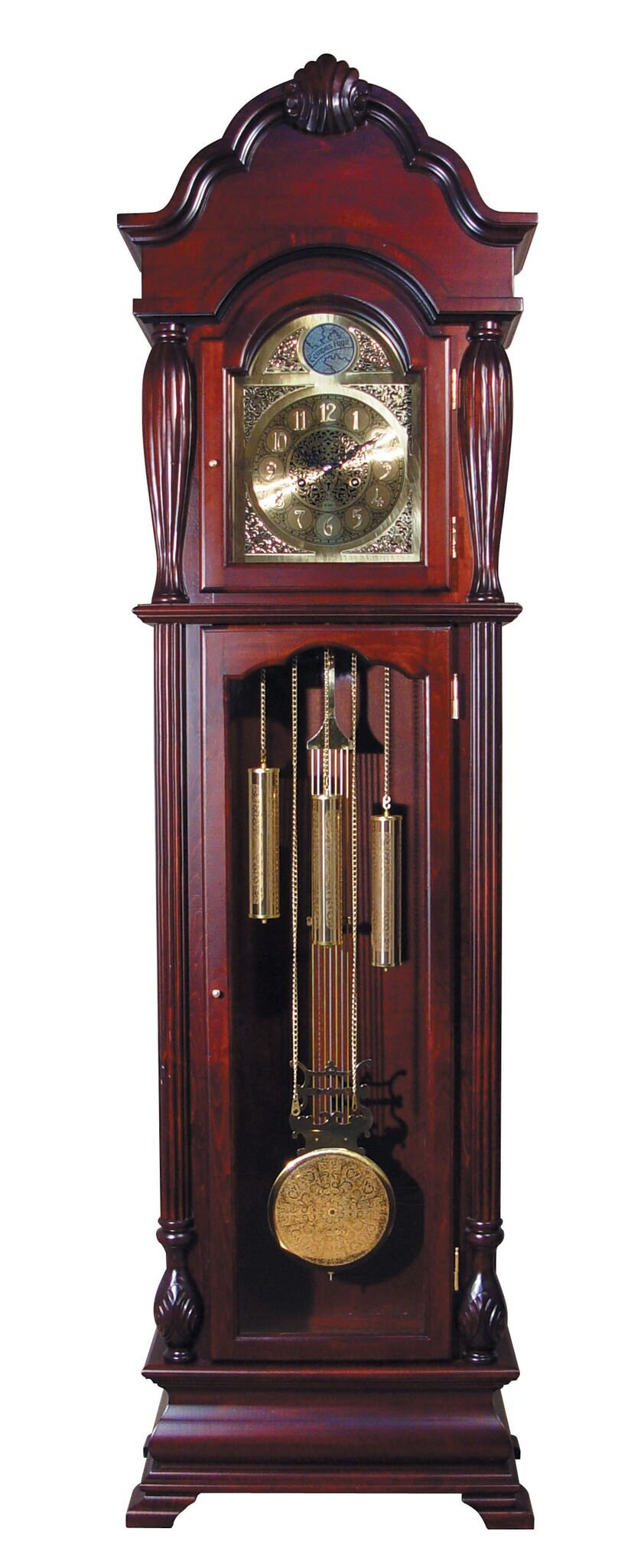 Major-Q 9001408 77'' H Traditional Style Dark Cherry Grandfather Floor Clock 2 Wood Framed Glass Doors