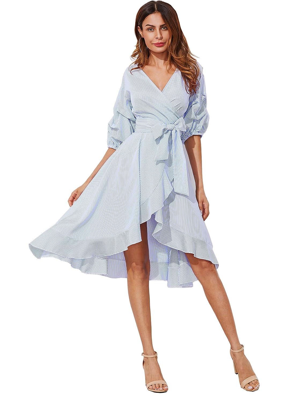 dfba9e8d5d4 Milumia Women s V-Neck Striped Pinstripe Flounce Dip High Low Hem Split  Wrap Dress at Amazon Women s Clothing store