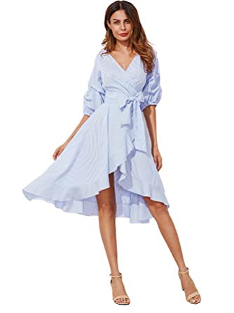 Milumia Women s V-Neck Striped Pinstripe Flounce Dip High Low Hem Split  Wrap Dress Blue 743bc4b02