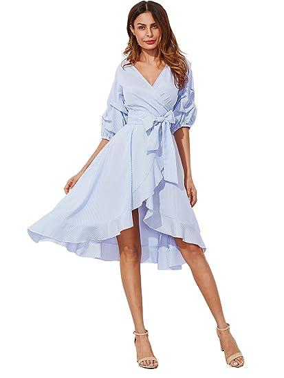 ada88d27b9f24 Milumia Women's V-Neck Striped Pinstripe Flounce Dip High Low Hem Split  Wrap Dress