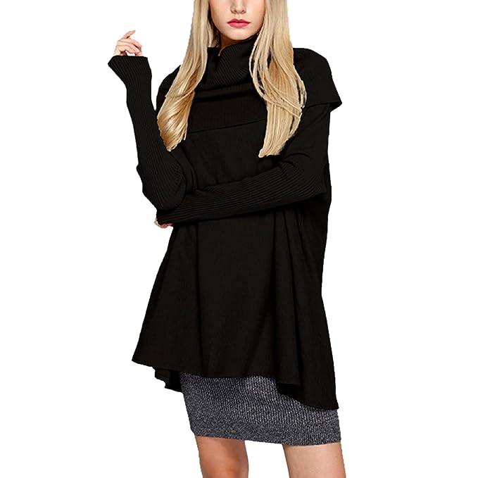1ede79b0f43 Elonglin Womens Knit sweater Heap collar Jumpers Knitted Thick Knitwear  Sweatshirt Loose Tops Autumn Winter