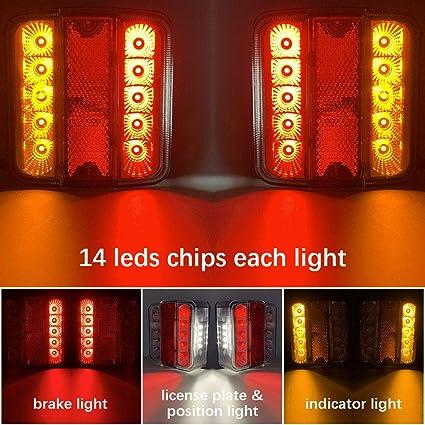 Hawkeye Paire de Feux de Remorque Arri/ère 4 Fonctions LED Halo /Éclairage pour Truck Van rouge, rectangle