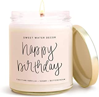 product image for Sweet Water Decor, Happy Birthday, Vanilla, Sugar, and Buttercream Sweet Scented Soy Wax Candle for Home | 9oz Clear Glass Jar, 40 Hour Burn Time, Made in the USA