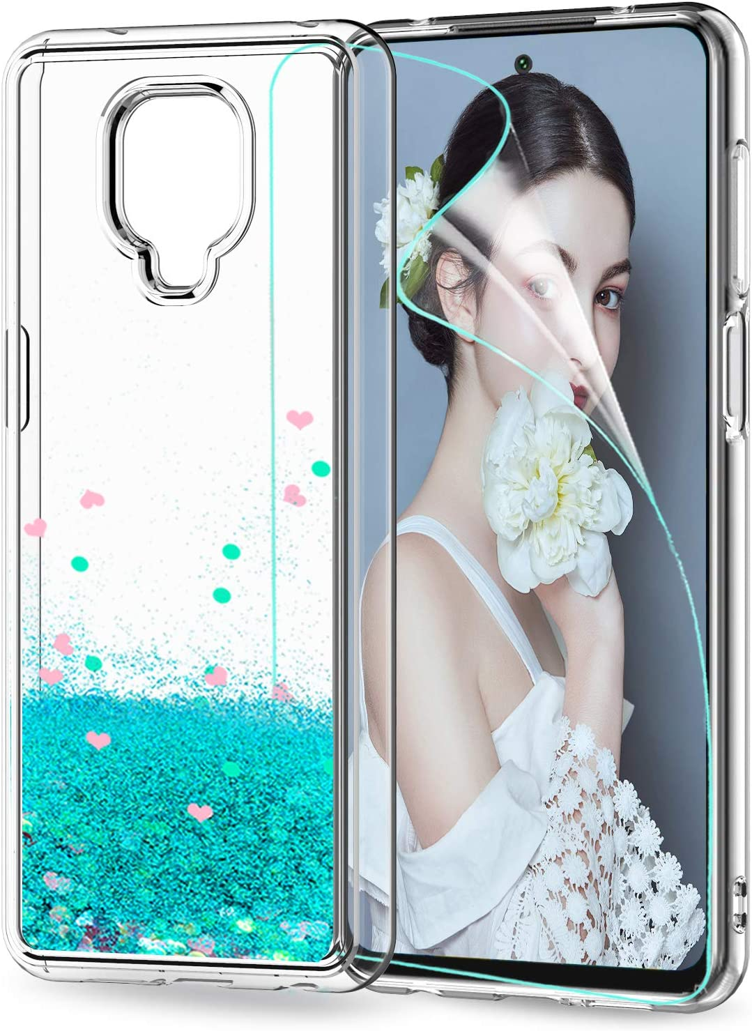 LeYi Funda Xiaomi Redmi Note 9S / Note 9 Pro Silicona Purpurina Carcasa con HD Protector de Pantalla, Transparente Cristal Bumper Telefono TPU Case Cover para Movil Note 9S Verde
