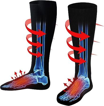 Autocastle - Calcetines eléctricos para hombre y mujer, recargables, térmicos, para deportes al aire libre, calentar calcetines, escalada, senderismo, ...
