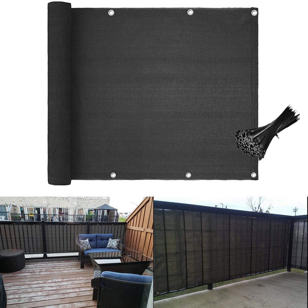 Caiyuangg Protezione dalla privacy per balcone, protezione dai raggi UV, oscurante, per balcone, con occhielli e fascette nere in HDPE, 5 metri (90 x 500 cm), grigio