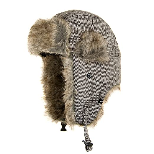 Amazon.com  Jaxon Herringbone Trapper Hat (L XL 97f1cb9ff36