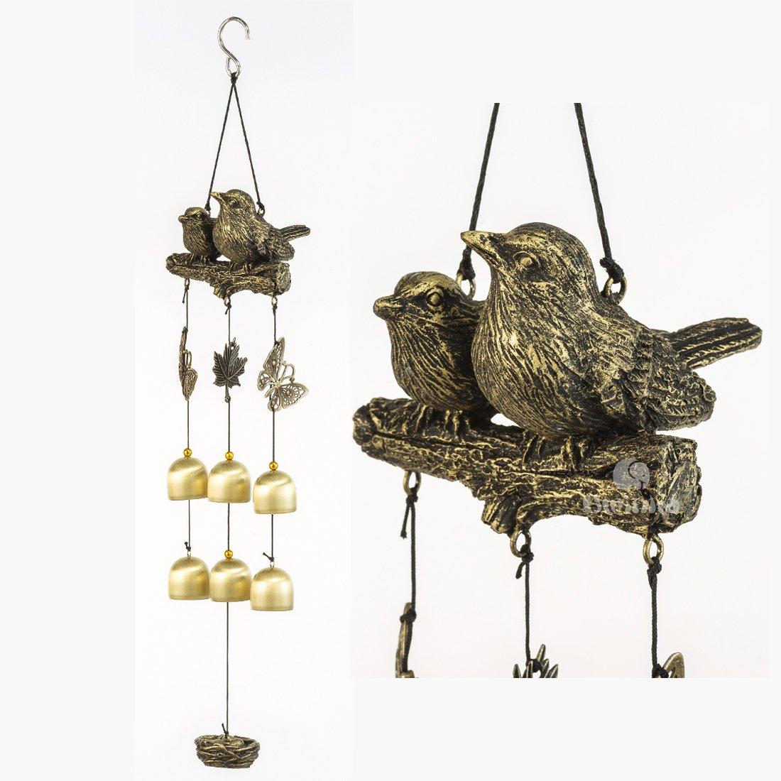 BWinka Neueste Vögel Wind Chime 6 Stücke Bronze Glocken Amazing Grace Windspiele für Garten, Hof, Terrasse und Inneneinrichtungen mit Haken