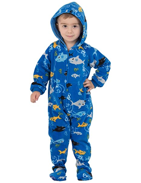 3a1bc1662cae Amazon.com  Footed Pajamas - Shark Frenzy Infant Hoodie Fleece ...