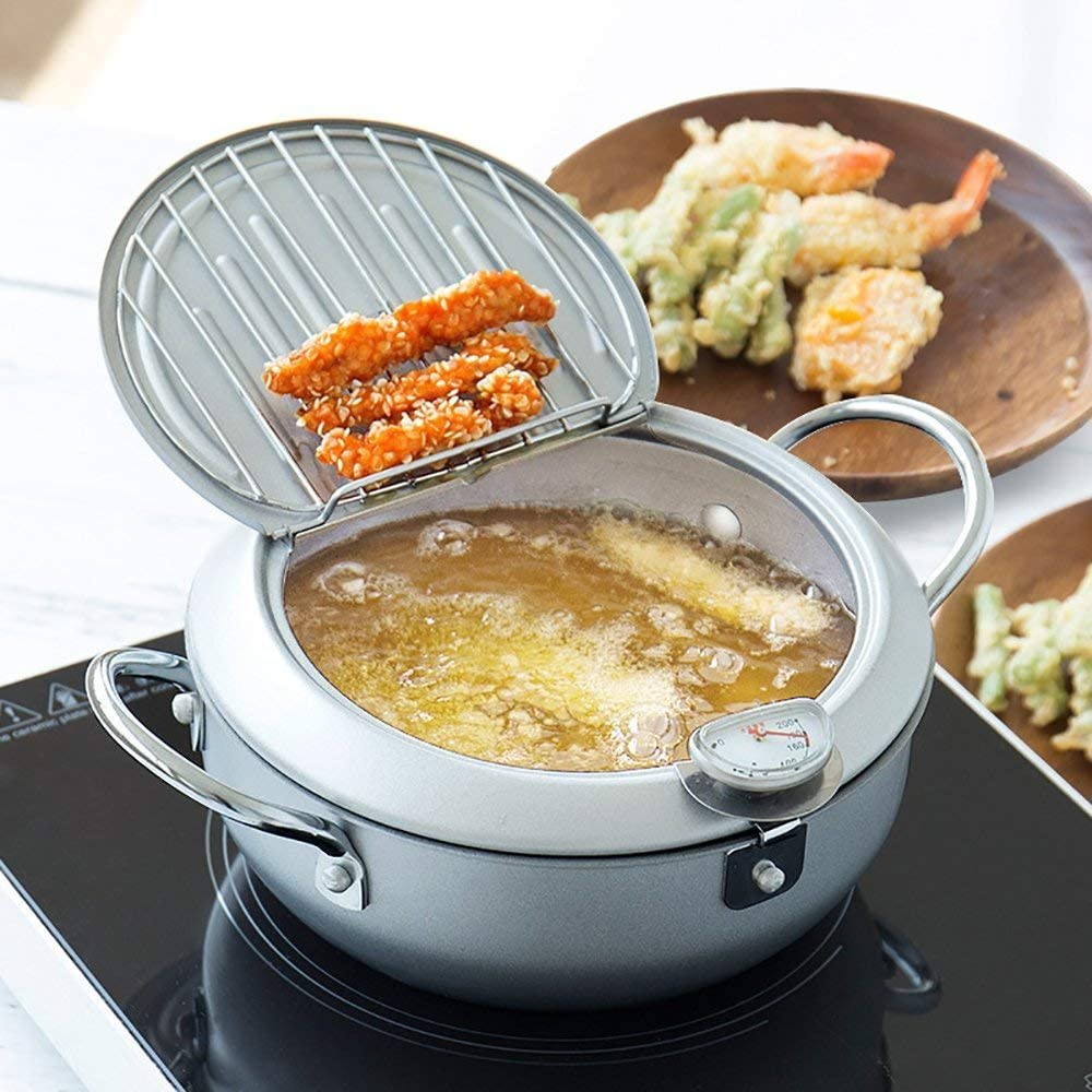 Non-stick coating Frying pan with thermometer Tempura Fryer Pot, Mini Deep Fry Pan with Drainer Mini Deep frying pan with oil frying pan 9.5 IN