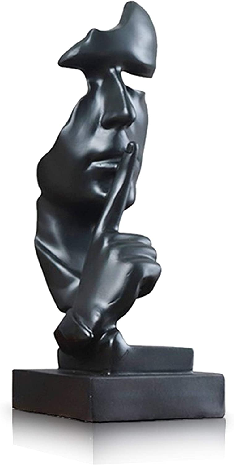 Modern and Creative Silence Thinker of Men Statue Great Abstract Decorative Figurine Sculpture for Home and Living Room Decor Great for Office Or Desk (Black)