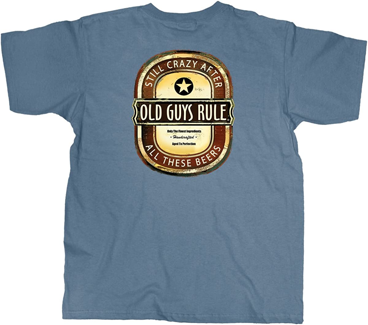 OLD GUYS RULE T Shirt for Men | Crazy Brew | Lake Blue