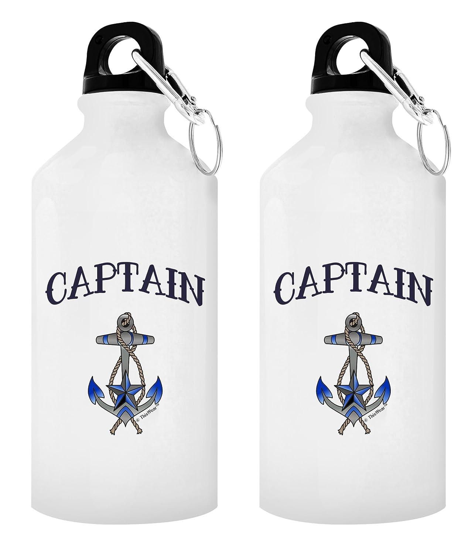 航海テーマギフトCaptain & First Mate水ボトルSailingギフトBoatingギフトNauticalギフトセットギフトアルミニウムウォーターボトルキャップ&スポーツトップ B077FBNZNF 20 oz Captain 2