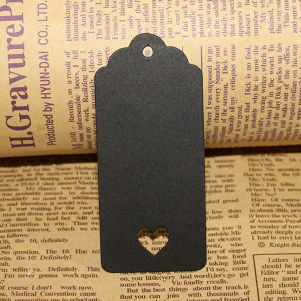 Aland 100Pcs Wave Edge Hollow Heart Blank Hanging Tags Wedding Party Gift DIY Card Wavy Top Edge Heart Shaped Hollow Kraft Paper Empty Black