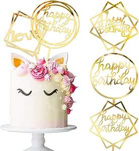 Whaline Happy Birthday Cake Topper Acrylic Cupcake Topper, A Series of Birthday Cake Supplies Decorations(4+1 Free pc)