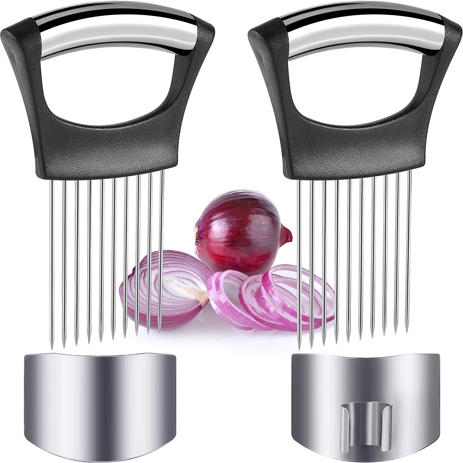 4 Pieces Onion Holder Slicer and Finger Guard Set, Stainless Steel Onion Slicer Vegetable Tomato Holder and Kitchen Finger Protector from Cutting, Food Slice Assistant Kitchen Safety Gadget