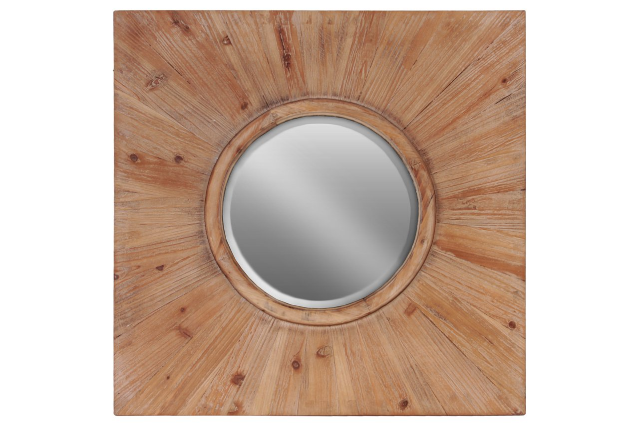 Urban Trends Wood Round Wall Mirror with Wood Square Frame Stained Wood Finish Brown, Brown - Item type: mirror Item material: wood Item finish: stained wood finish - bathroom-mirrors, bathroom-accessories, bathroom - 71Zvjfc3kXL -