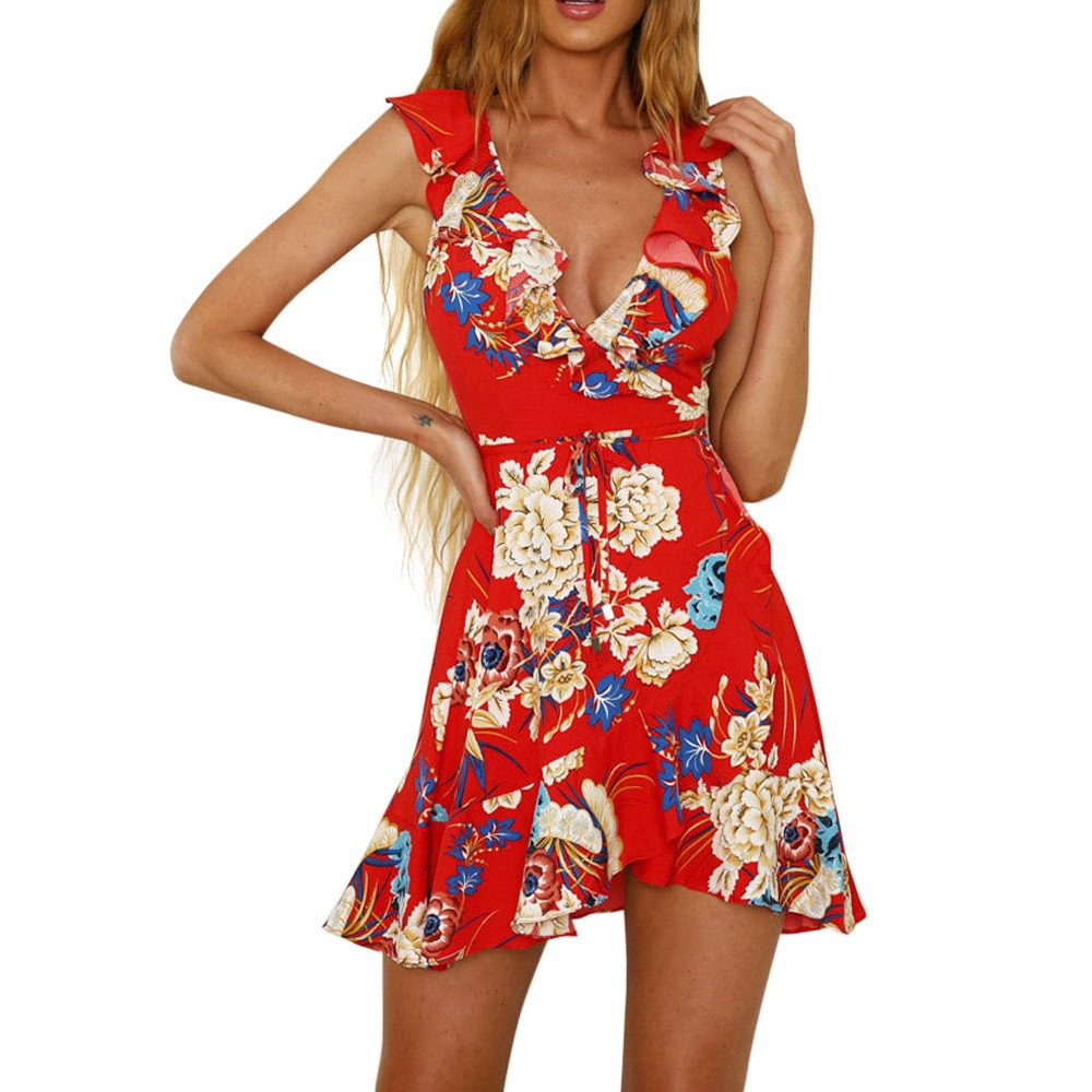 Dresses for Women Work Casual,Summer Dresses for Women,Women's Dresses Spaghetti Strap Floral Print A Line Mini Dress Red