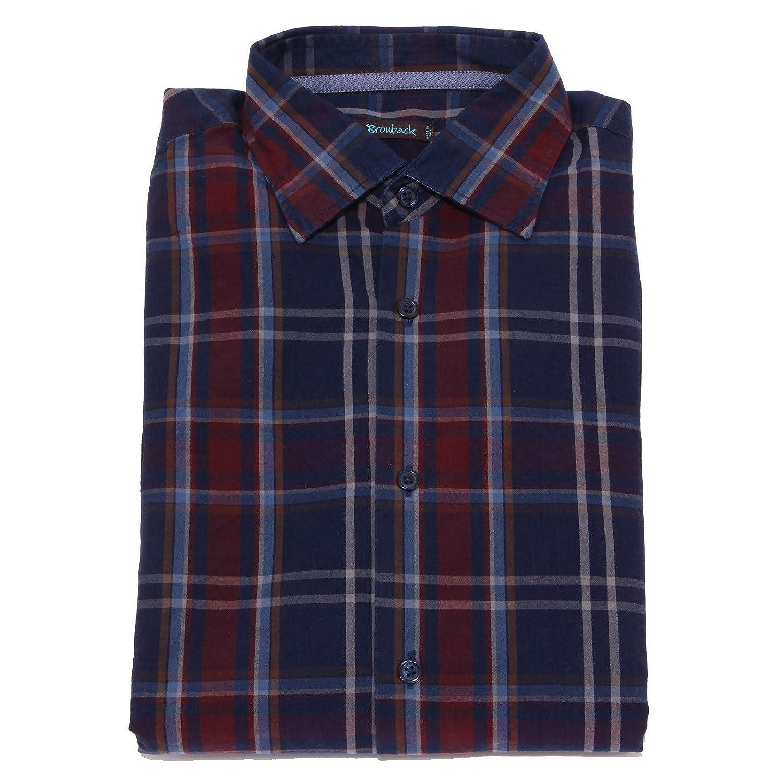 bleu Bordeaux X-petit BROUBACK 1978X Camicia hommes bleu Bordeaux Check Cotton Shirt Man