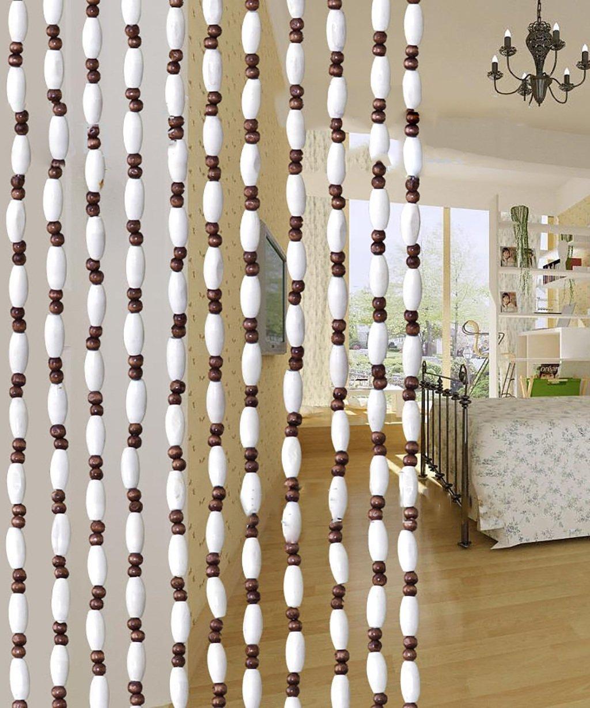 WUFENG Sommer Zimmer Tür Fenster Hölzern Perlenvorhang Türvorhang Fadenvorhang Fadenstore Raumteiler Anti-Moskitos Vorhänge (Größe   90  180-40string)