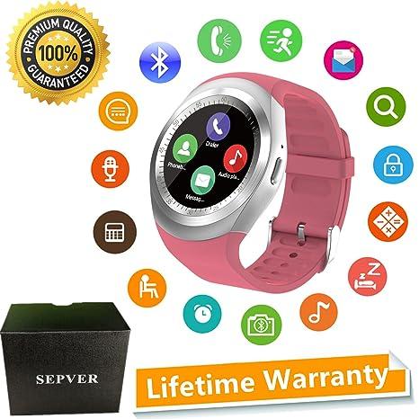 Reloj Inteligente Smartwatch para iOS iPhone y Android Hombres Mujeres (Rosa)