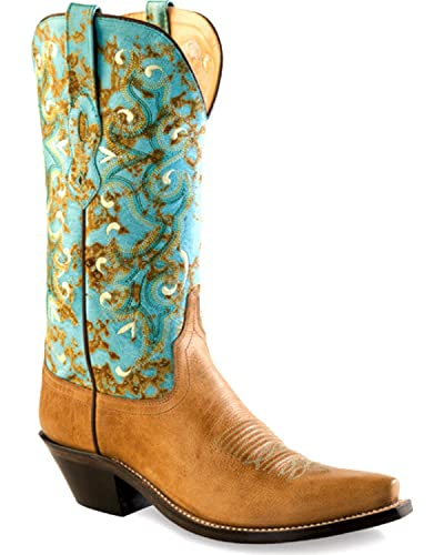 Women's and Turquoise Western Boot Snip Toe - Lf1542