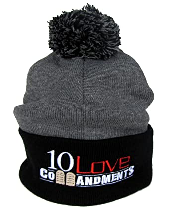 Amazon com: 10 Love Commandments Embroidered Pom Pom Knit