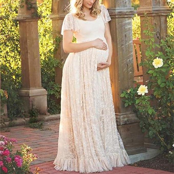 Dulcklane Fotografía Vestido de Maternidad, Gasa de Encaje Largo Elegante Vestido de Manga Corta Embarazada