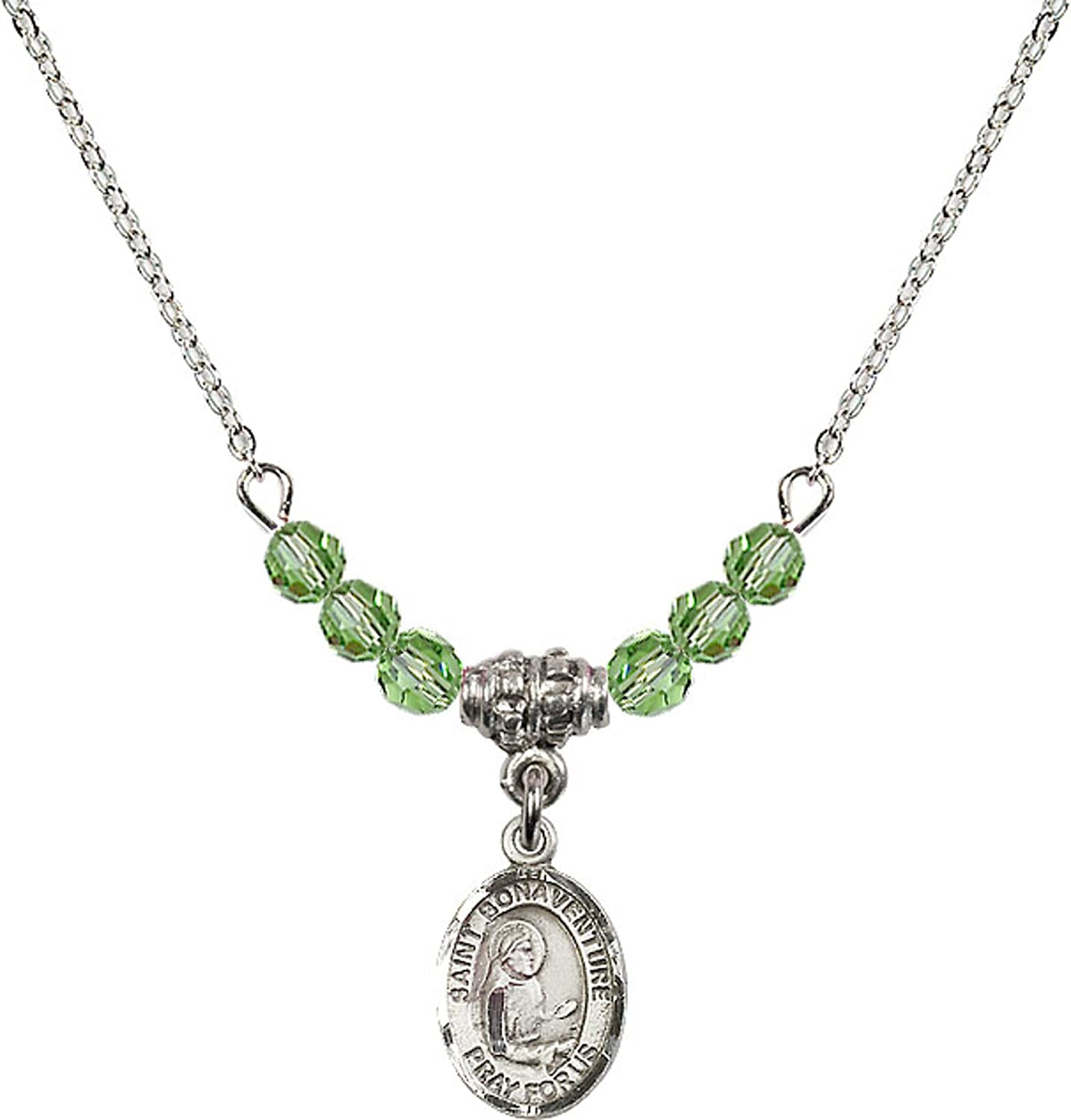 18 Inch Rhodium Plated Necklace w// 4mm Green August Birth Month Stone Beads and Saint Bonaventure Charm
