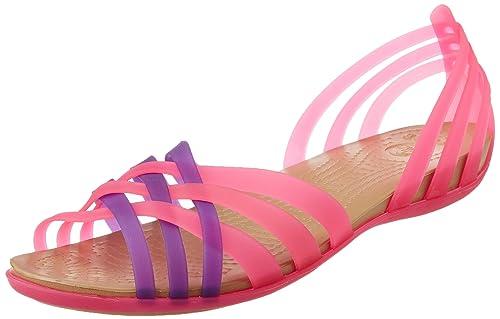 dafd73c80d34 crocs Women s Huarache Flat Vibrant Pink and Neon Purple Rubber Ballet Flats  - W11