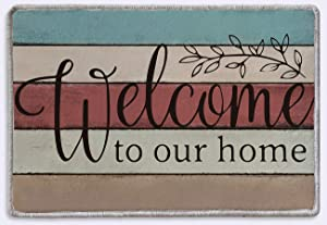 Welcome to Our Home Front Door Welcome Sign Rug Mat | Rustic Farmhouse Decor | Housewarming Gifts