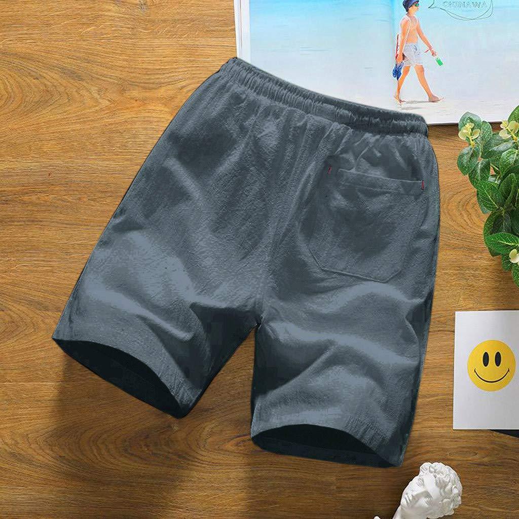 OWMEOT Mens Drawstring Walk Short,Mens Linen Casual Classic Fit Short Summer Beach Shorts Men/'s Linen Casual Classic Fit Short Summer Beach Shorts