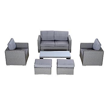 Outsunny Heißklebestifte Garten Rattan Sofa Set Outdoor Gartenmöbel  Liebesschaukel Hocker Entspannen Polsterhocker Tisch Gestell Aluminium