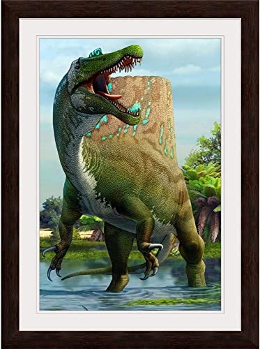 GREATBIGCANVAS A Large Spinosaurus Lets Out A Loud Espresso Framed Wall Art Print