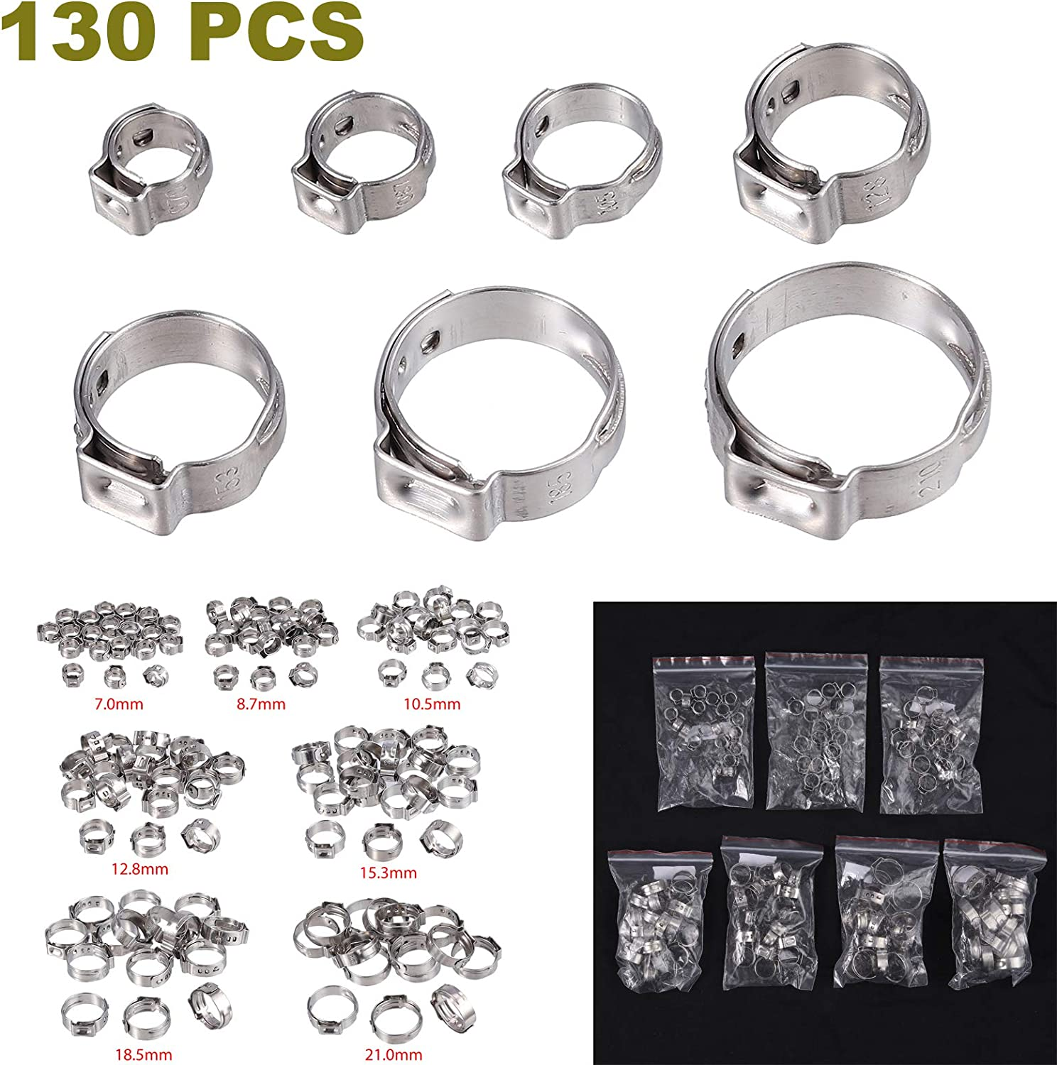 CAMWAY 130Pcs 7-21mm 304 Stainless Steel Single Ear Stepless Hose Clamps Assortment Cinch Clamp Rings