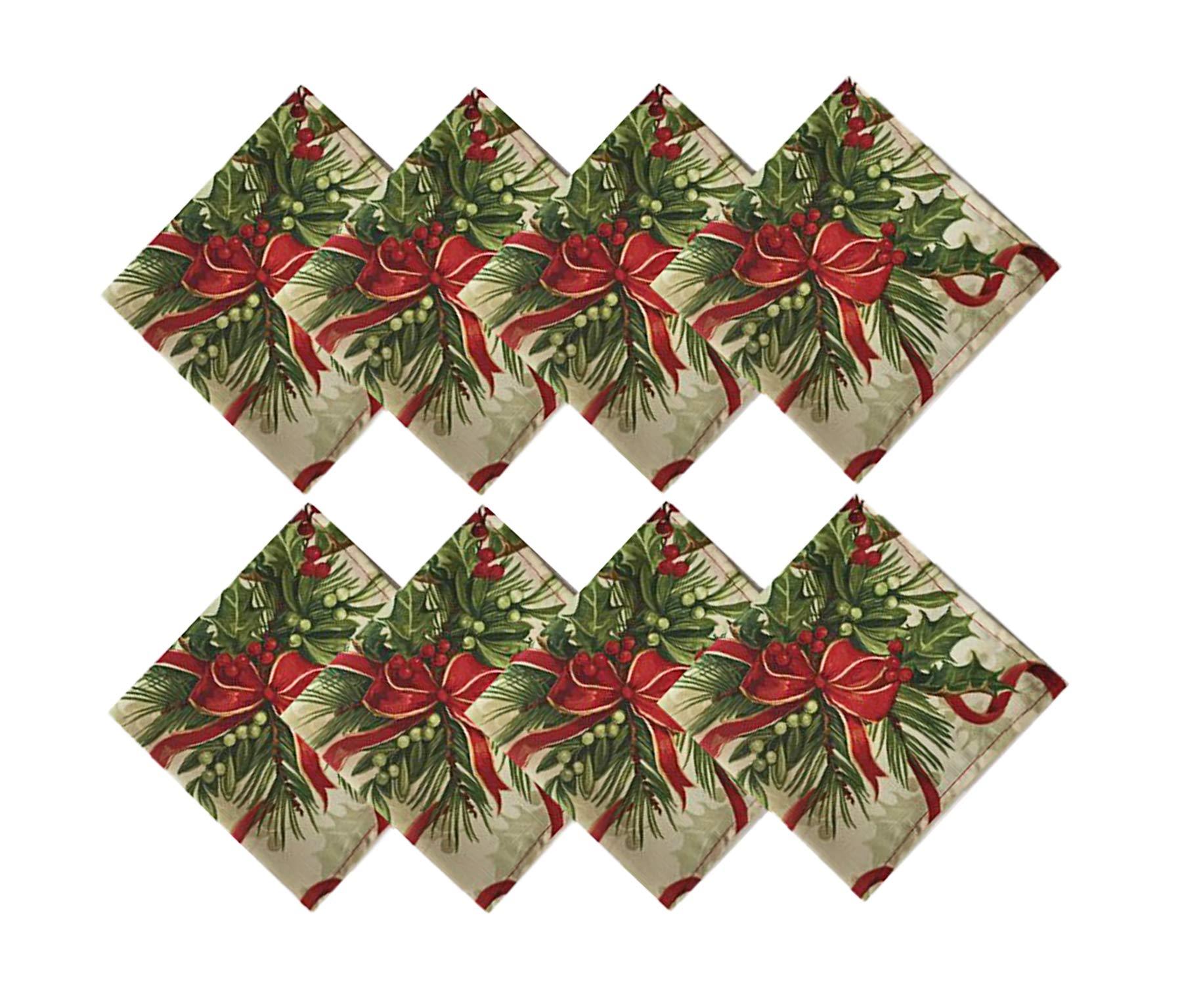 Newbridge Holly Ribbon Traditions Fabric Christmas Holiday Napkin Set, Xmas Ribbons Double Border Napkins, Set of 8 Fabric Napkins