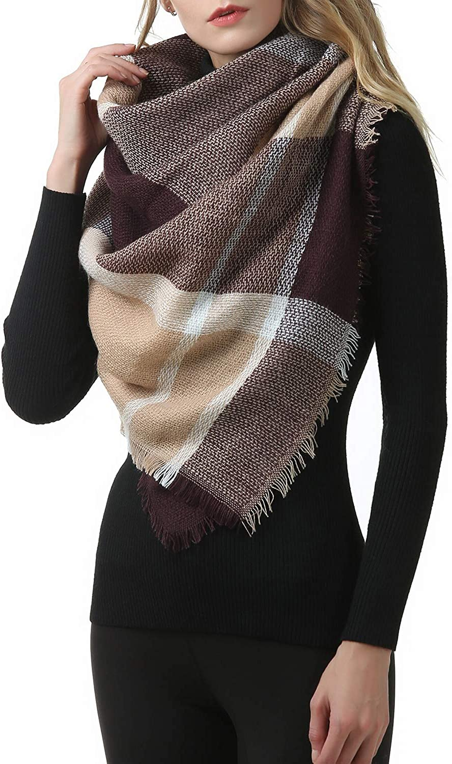 Zando Plaid Scarf Soft...