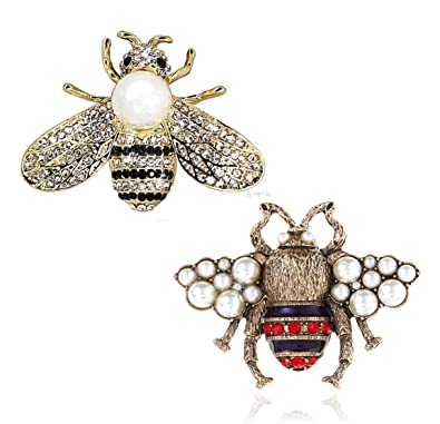 05f1758a5ef VIEEL 2 Pack Rhinestone Pearl Bee Brooch Pins Honey Bee Pendant/Brooch  Fashion Crystal Insect