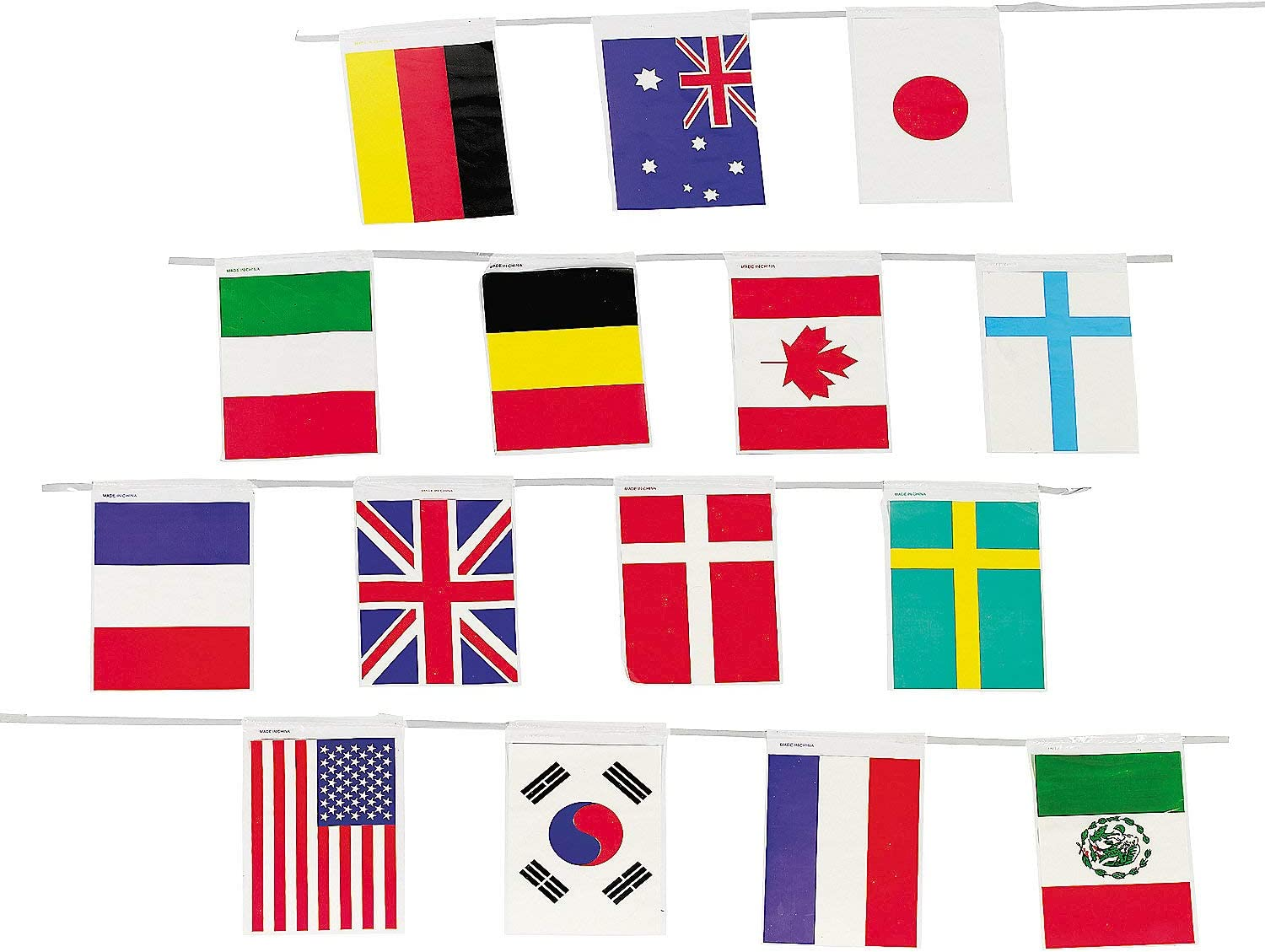 Fun Express - Flag of All Nations Line of Flags for Party - Party Decor - Hanging Decor - Pennants - Party - 1 Piece